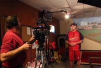 Mike Haller videotaping Cardinals Lance Berkman 1